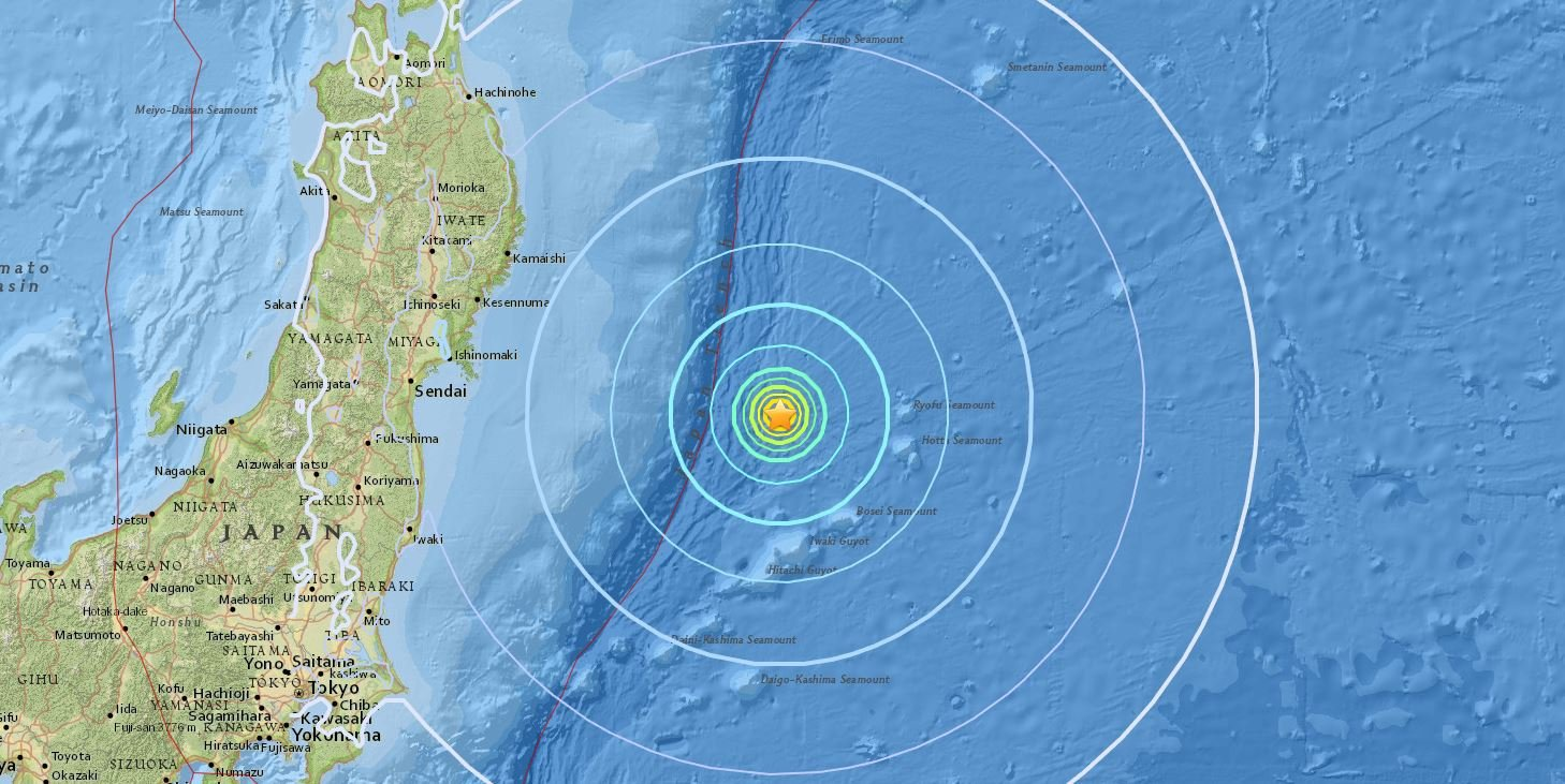 The quake's epicenter was reported 185 miles off Japan's east coast. Image courtesy: USGS