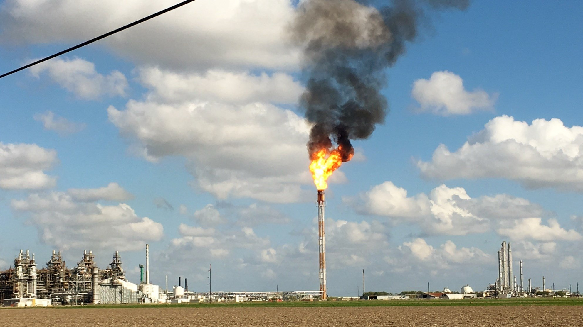 Photo: LyondellBasell facility flaring conditions (KRIS-TV)
