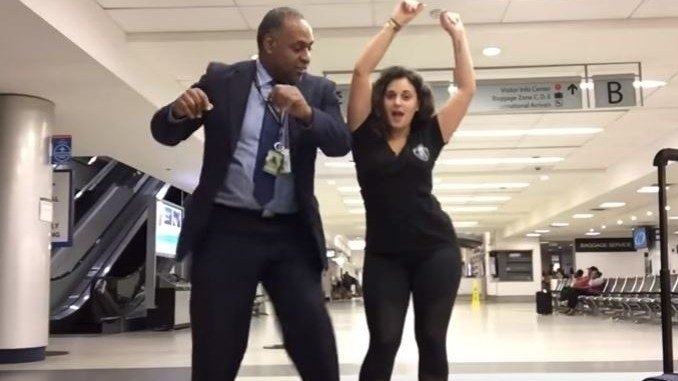A young woman, who got stuck at a Charlotte airport, decided to make the most of it and created a music dance video. (Courtesy: Mahshid Mazooji)