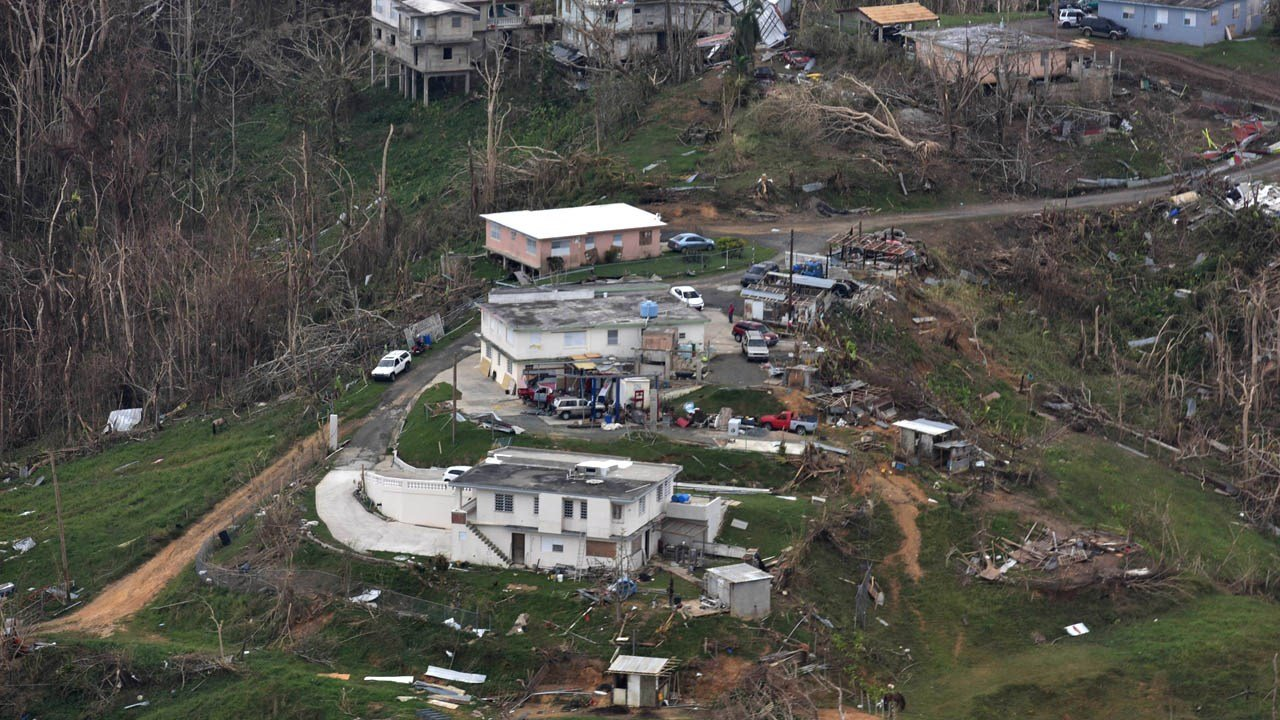 Land destroyed by Hurricane Maria in Puerto Rico
