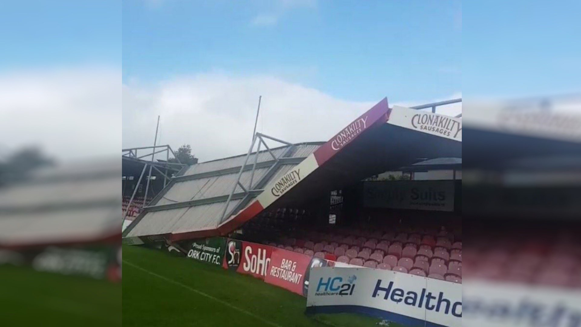 The roof of Cork City's soccer stadium has partially collapsed as Ophelia's winds batter Ireland. (Twitter)