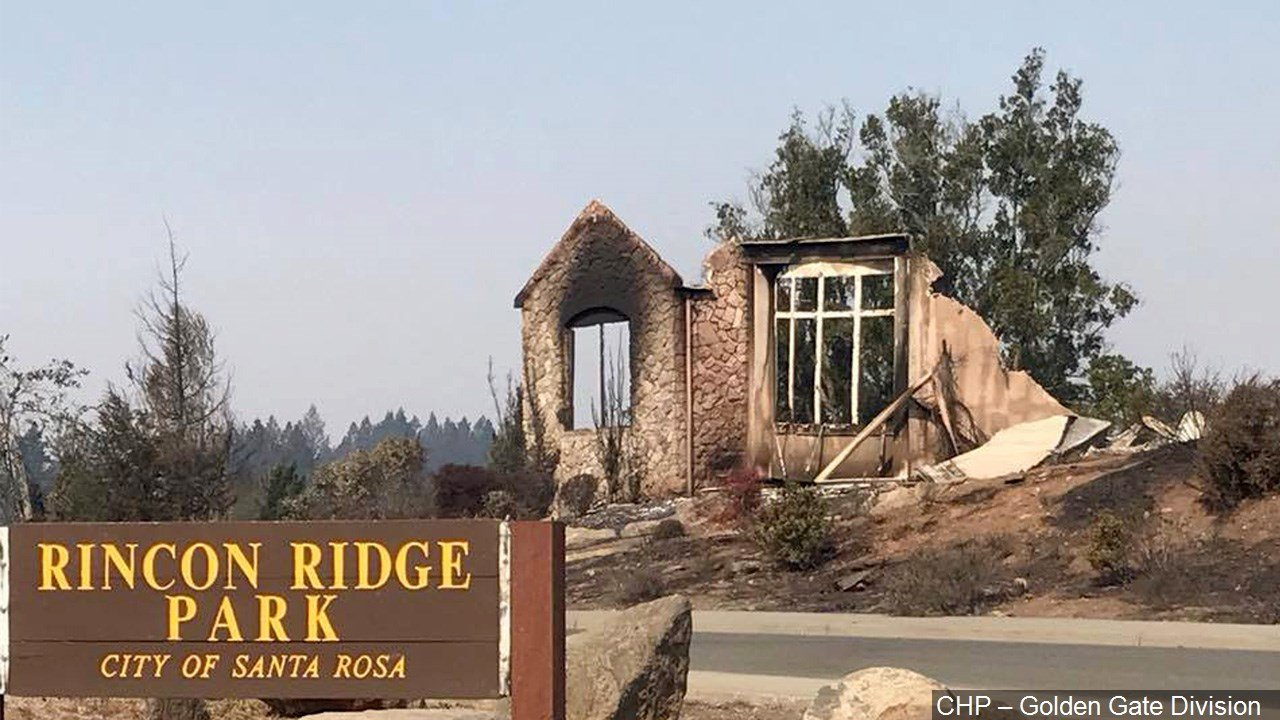 PHOTO: A Northern California neighborhood after a wildfire swept through, Photo Date: 10/11/17