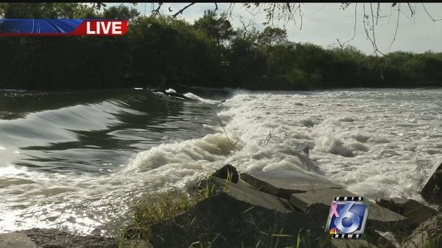 Water flows down the Nueces River near Labonte Park, downstream of Wesley Seale Dam.
