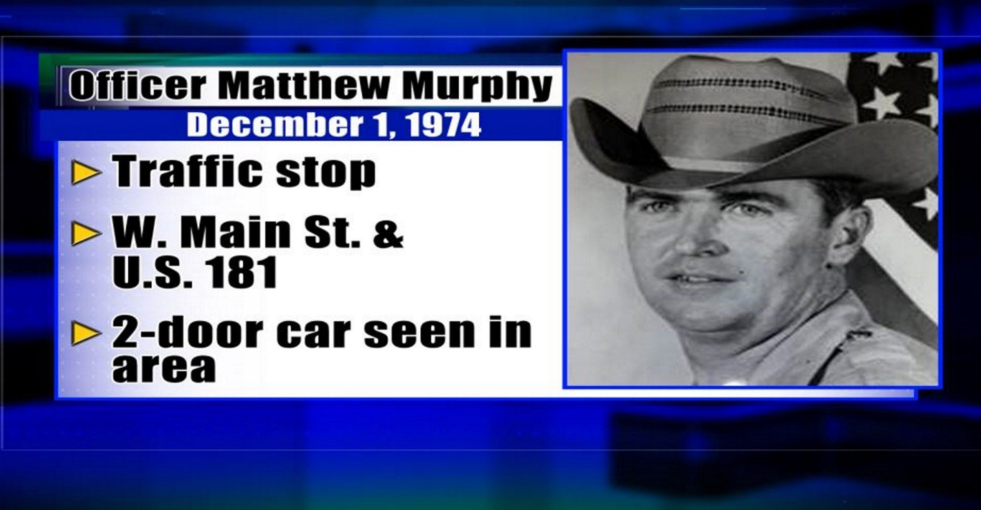 Officer Matthew Murphy was killed during a traffic stop on Dec. 1, 1974.