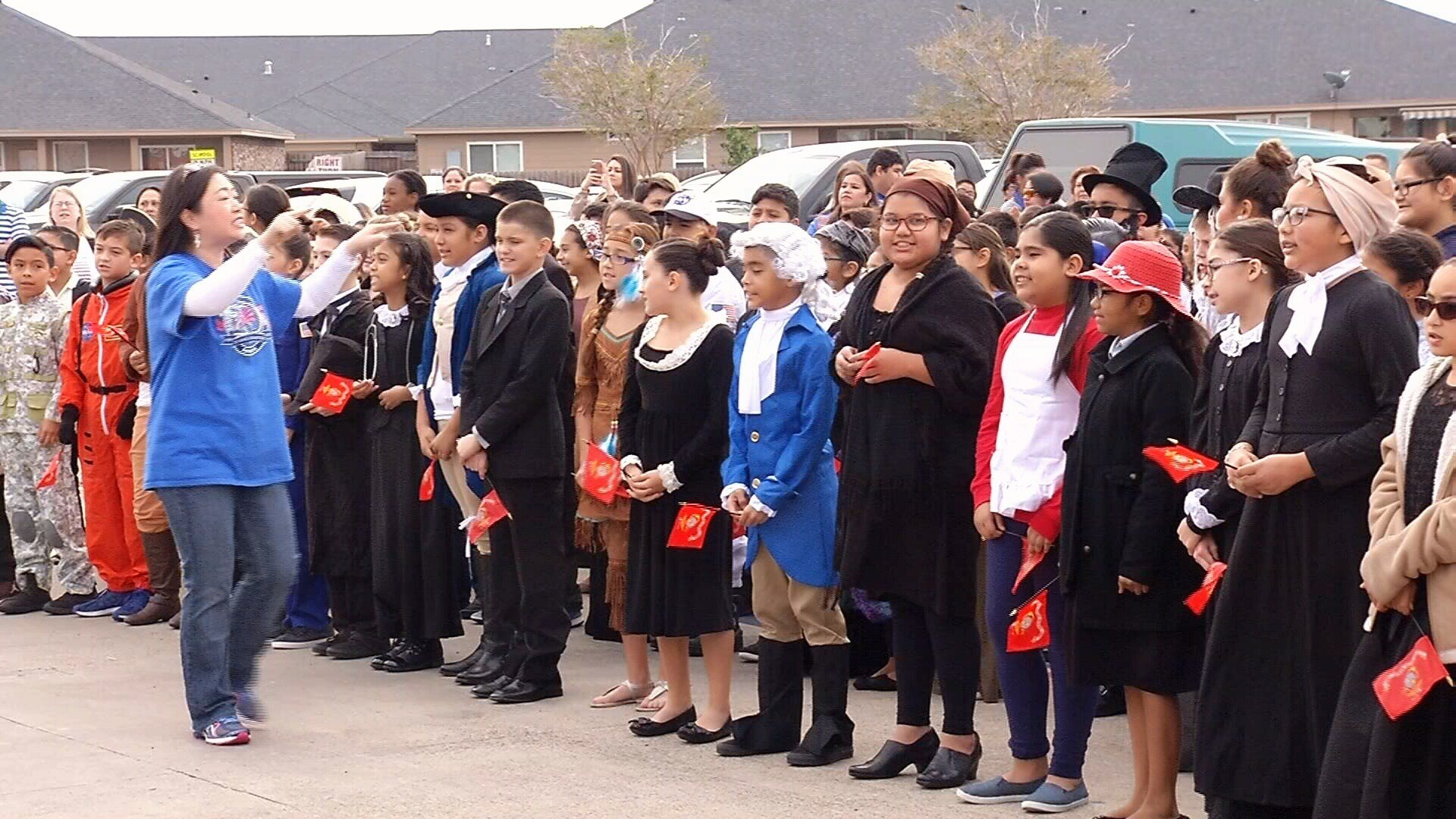 Dawson Elementary students sang patriotic songs at the end of Friday's event.