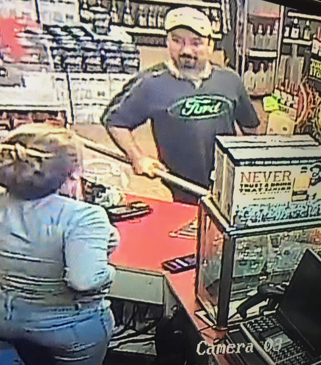 Police are looking for this man who attempted to rob Toddy Shoppe liquor armed with a pipe Saturday night.