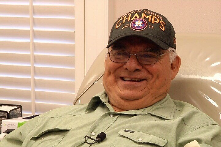 Edmund Garza, 75, of Clegg, Tx travels 120 miles round trip to donate blood every two months.