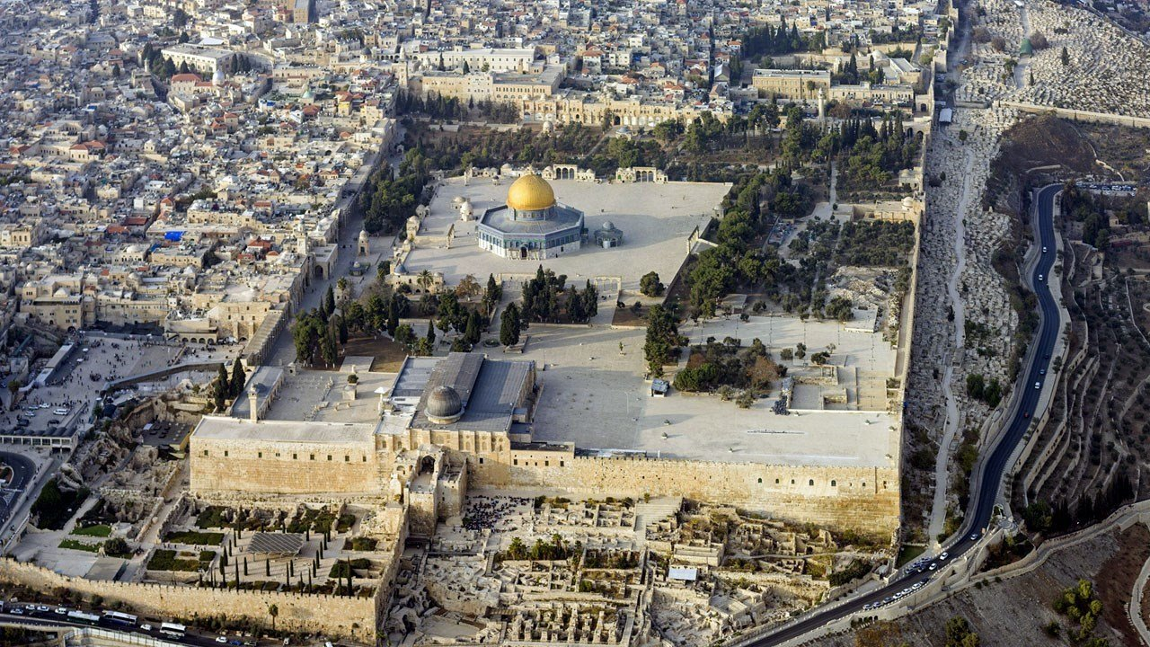 Aerial view of the Temple Mount in the Old City of Jerusalem