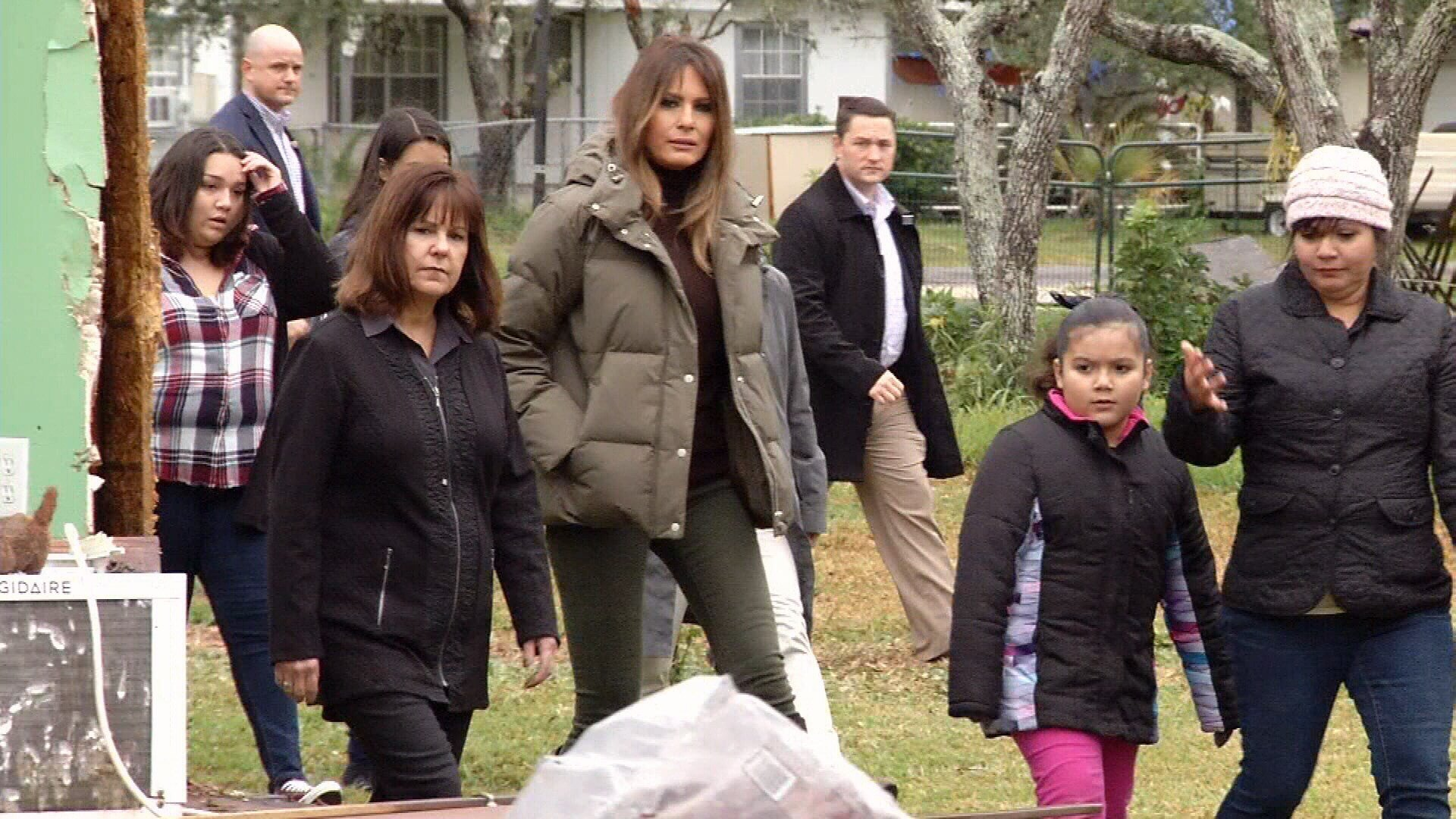 First Lady Melania Trump and Second Lady Karen Spence visited storm victims who have lost their home.