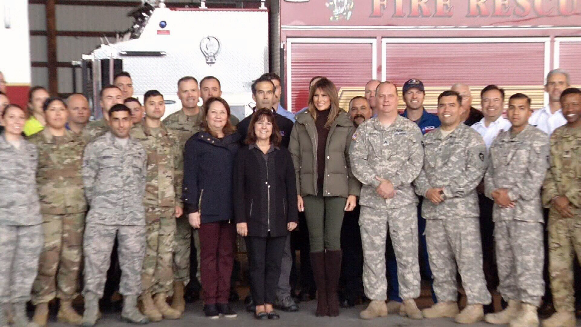 The First Ladies gave personal 'thank yous' to first responders and discussed hurricane recovery progress.