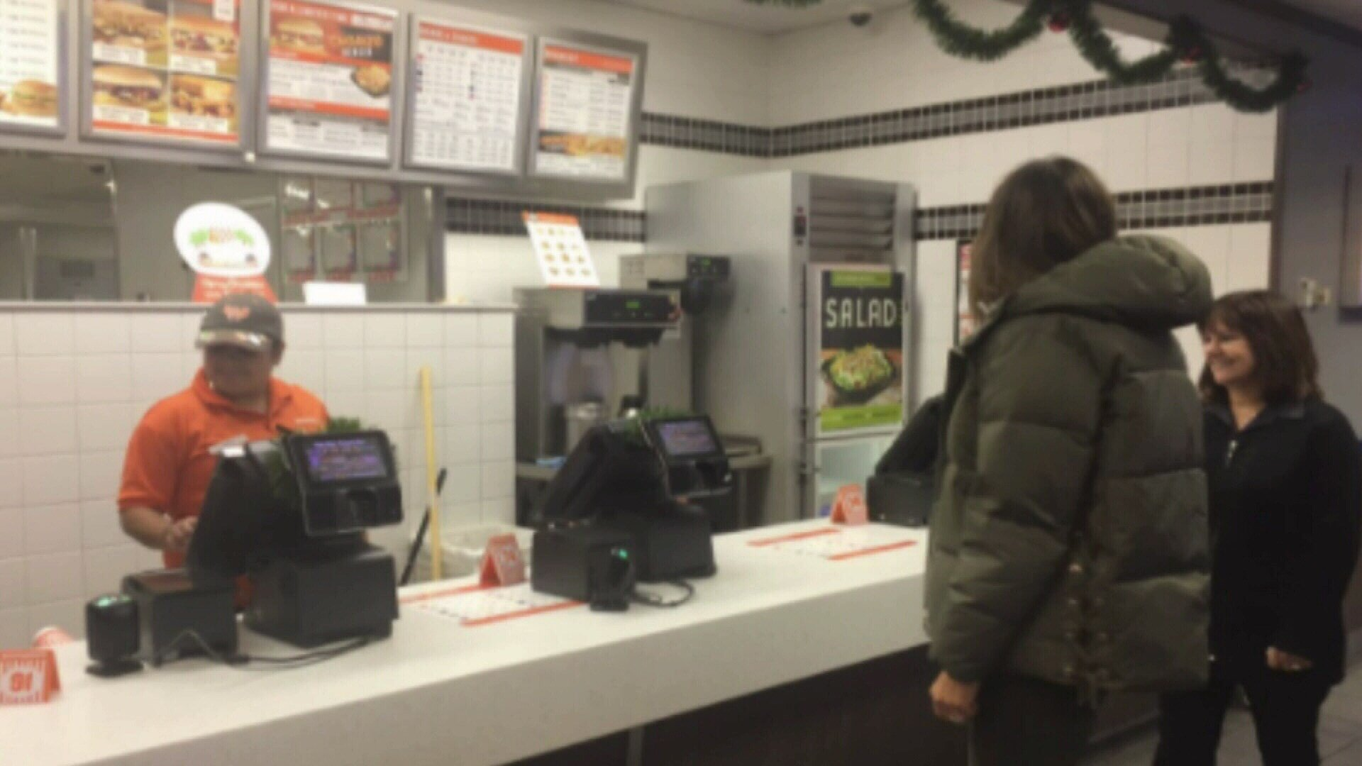 Employees at the Whataburger were shocked when motorcade stopped outside and the VIPs walked into their restaurant.
