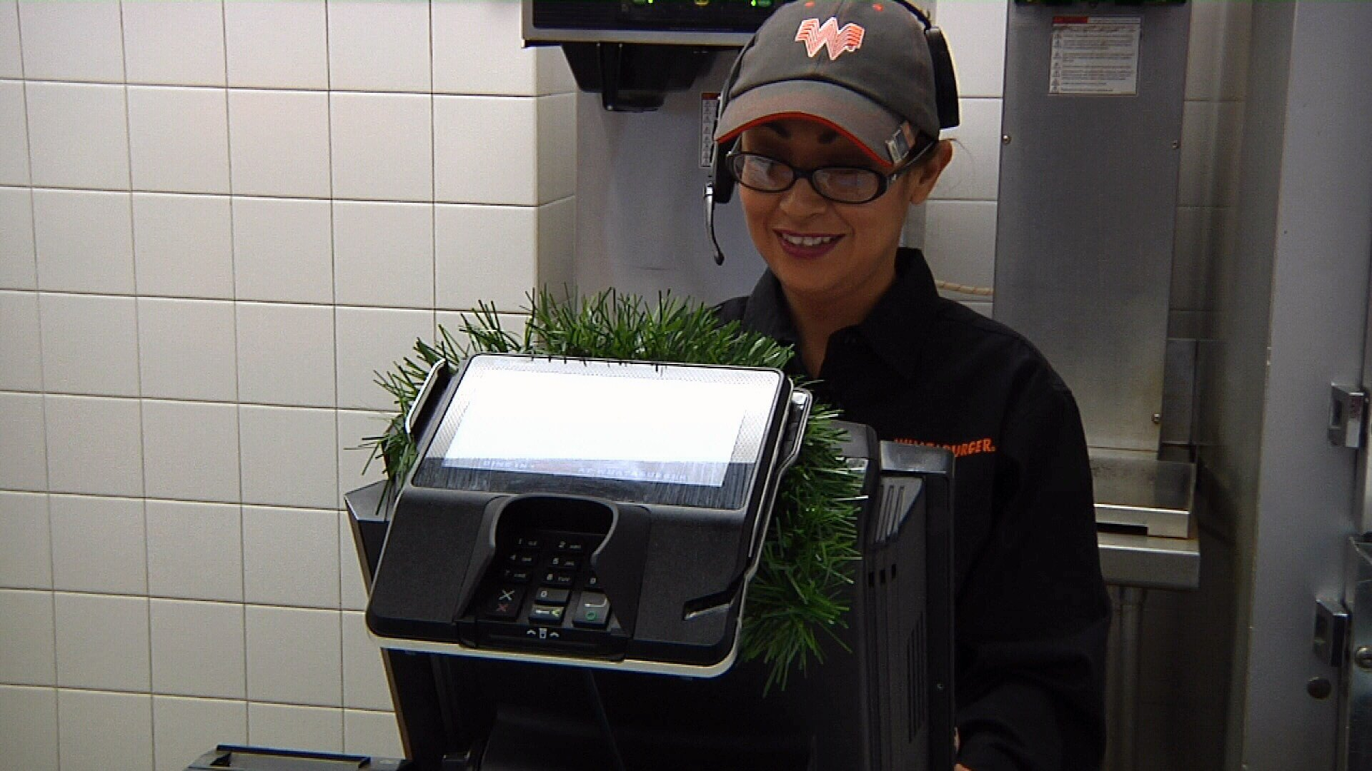 Manager Melissa Montoya served the First Lady her first meal from Whataburger ever.