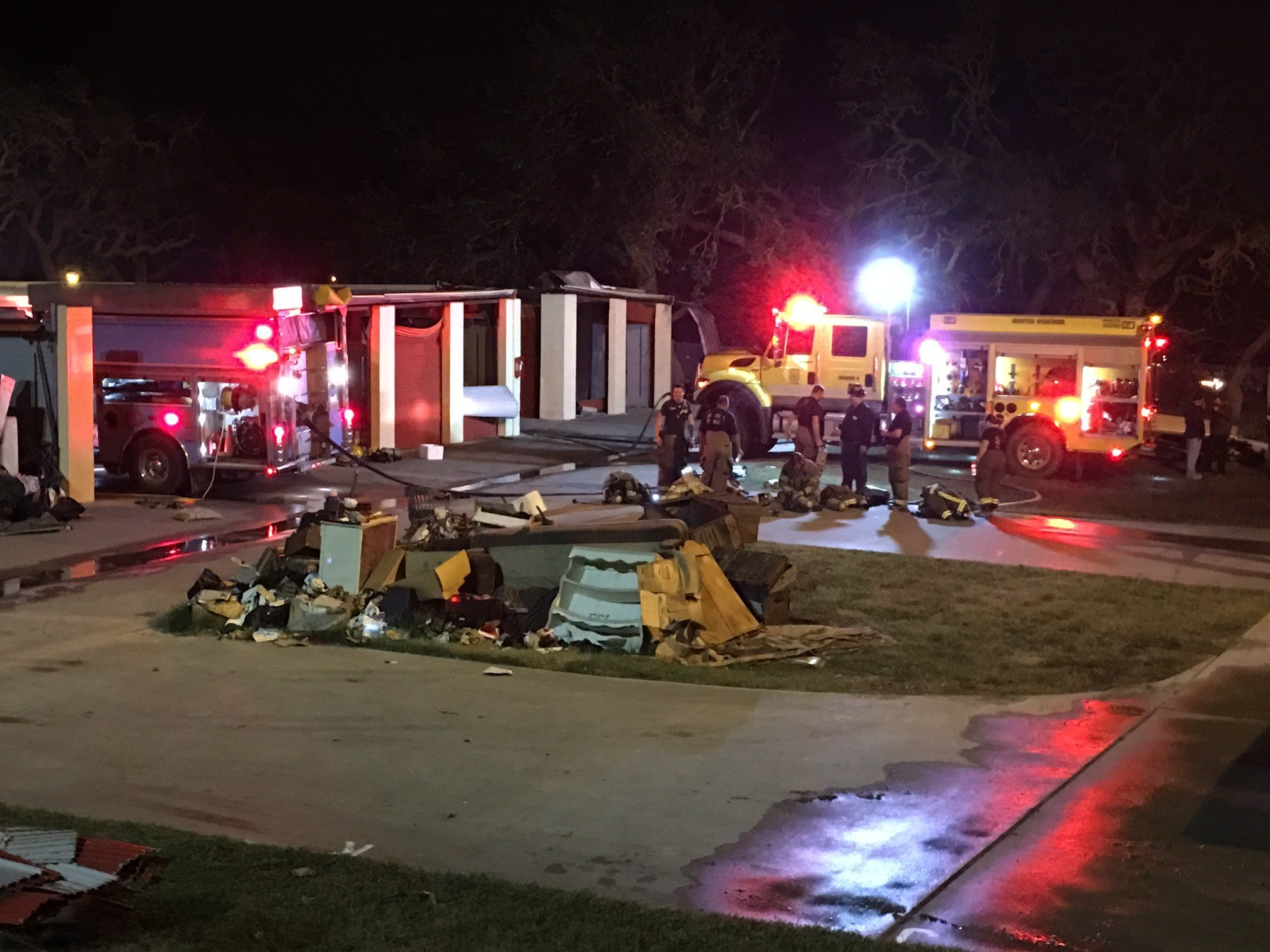 Storage units on the 2400 block of Highway 35 N. were heavily damaged by a fire overnight.