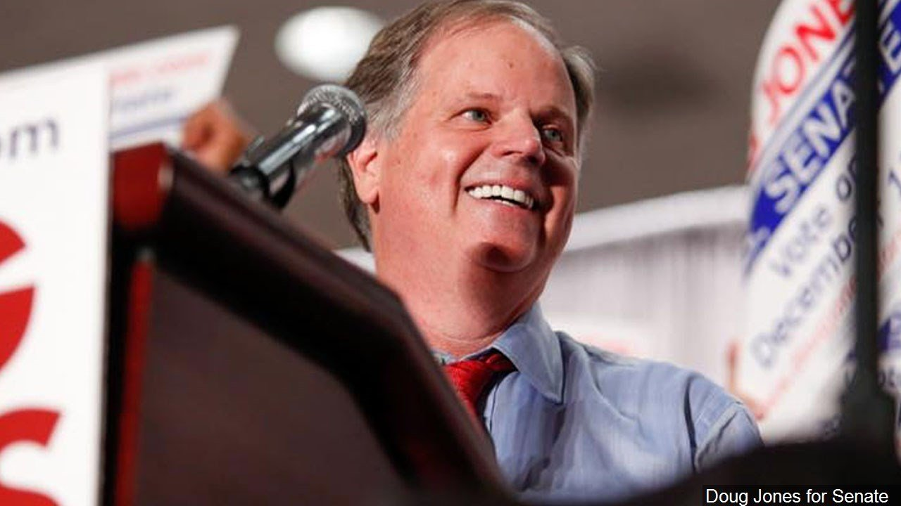 PHOTO: Doug Jones, American lawyer and politician; he served as a United States Attorney for the Northern District of Alabama., Photo Date: October 3, 2017