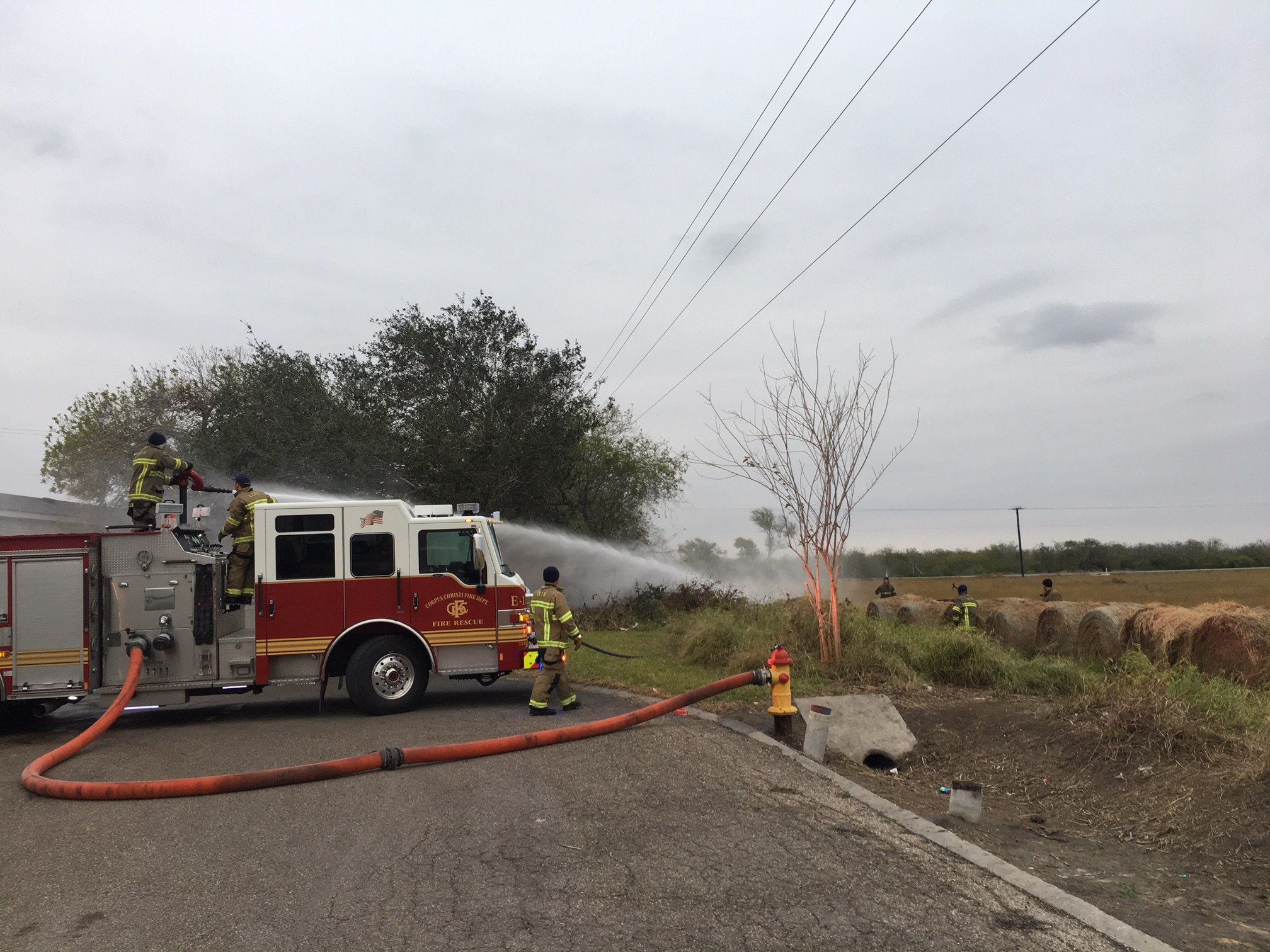 Small brush fire near Seascape Mobile Home Park.