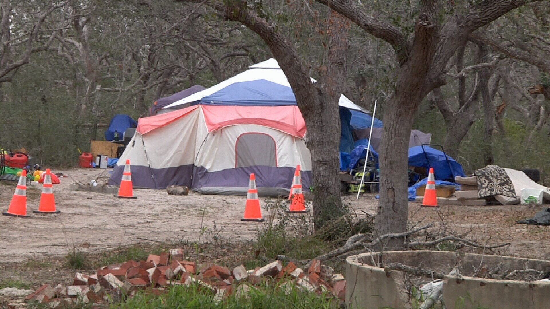 At Rockport Relief Camp displaced storm victims have moved out of tents and into RVs, but many other people displaced by Harvey remain in tents around the Coastal Bend.