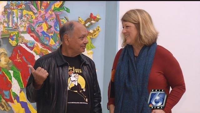 Cheech Marin appeared at the premiere of his collection's exhibit alongside Melissa Richardson Banks, coordinator for the exhibit.