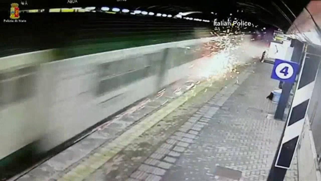 Video shows commuter train causing sparks before derailment