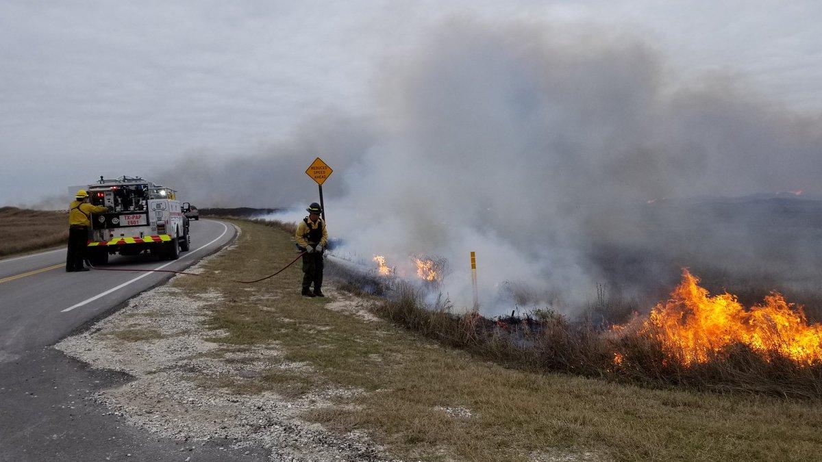 Controlled burning at Padre Island National Seashore. Photo: PINS / Twitter