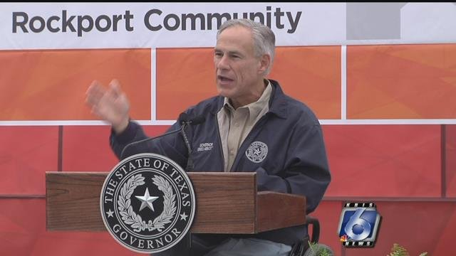"Governor Greg Abbott spoke to Rockport residents, saying Citgo/Habitat for Humanity's donation was the first of a ""tidal wave"" of support for the recovering community. (file photo)"