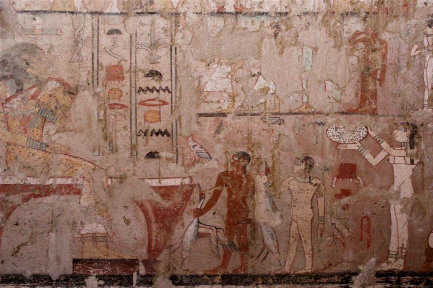 """Images painted in the tomb of a royal palace official believed to be known as """"Hetpet."""" Charlene Gubash / NBC News"""
