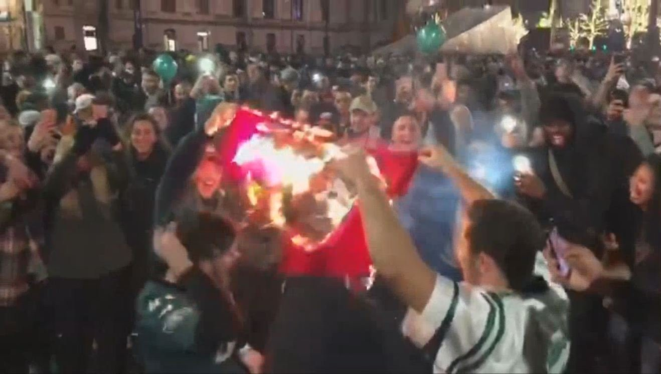 Awning at Philadelphia Ritz-Carlton hotel collapses with Eagles fans on top