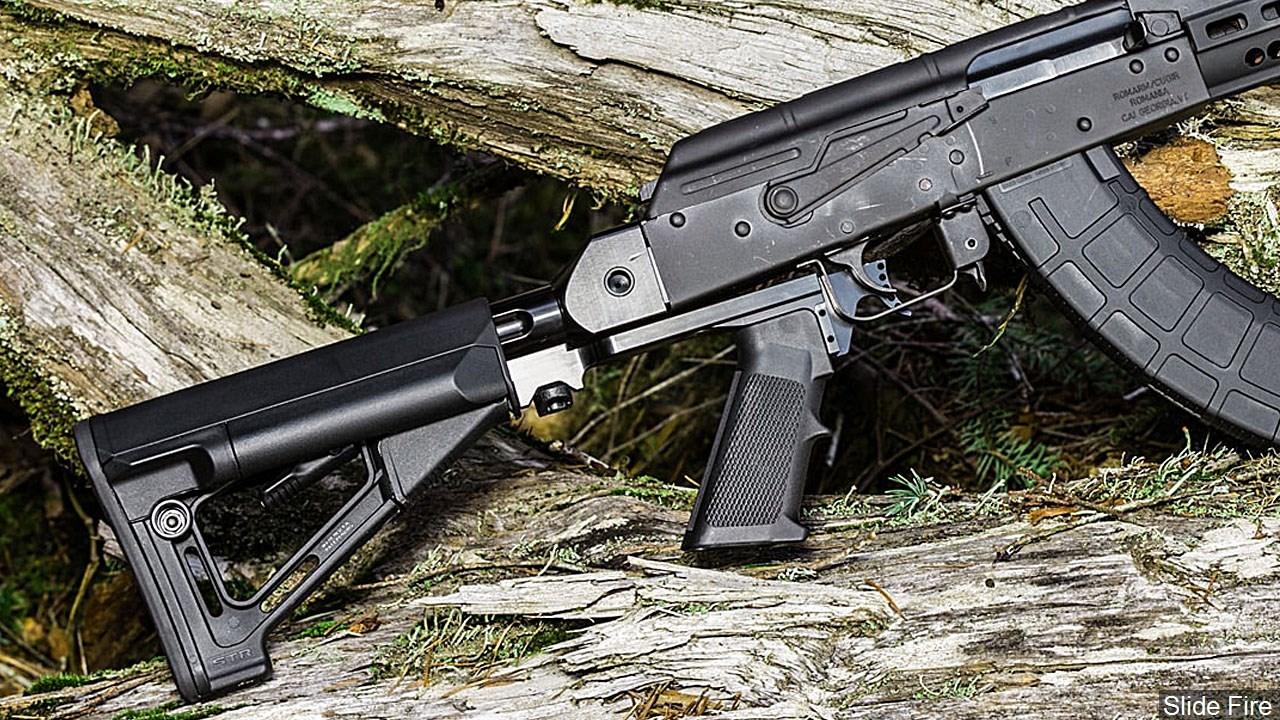 PHOTO: A bump stock rifle modification on an AK-47