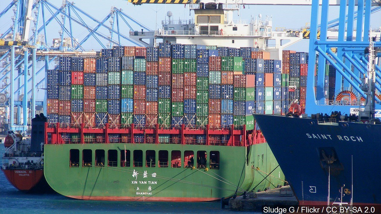 PHOTO: Cargo ship carrying shipping containers