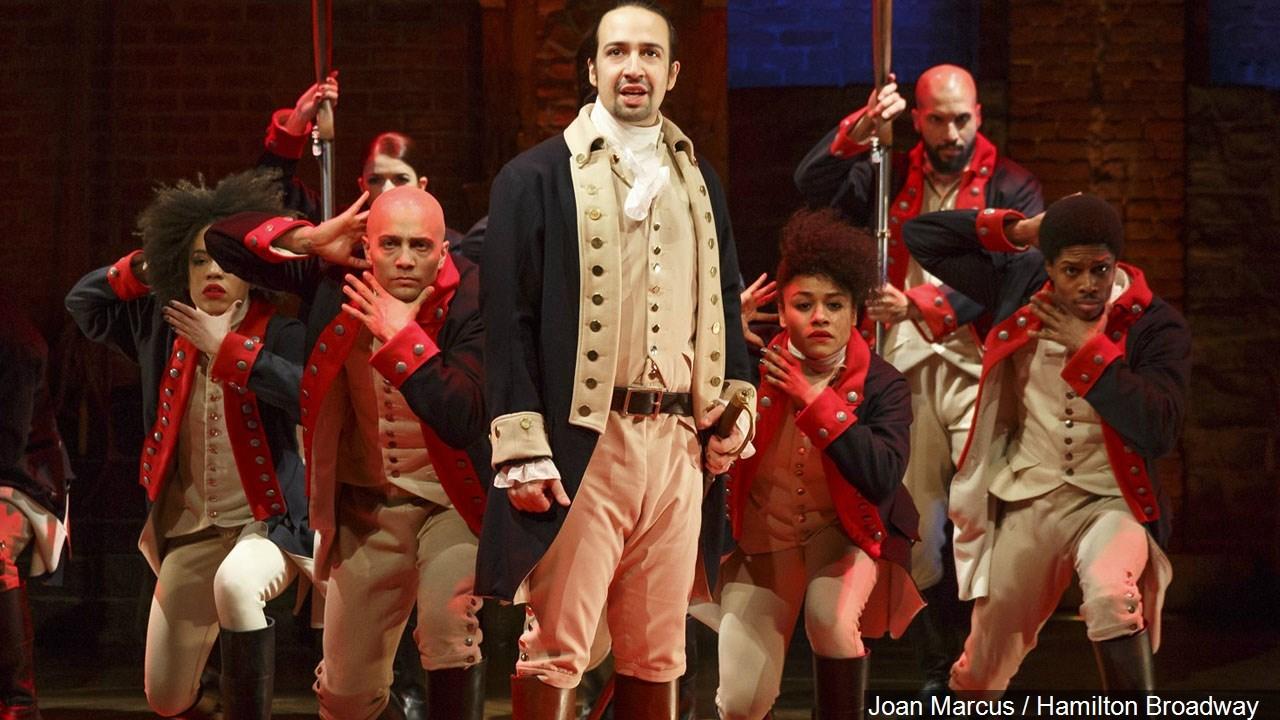 "PHOTO: Lin-Manuel Miranda (center) & the cast of the Broadway play ""Hamilton"", Photo Date: 2016"