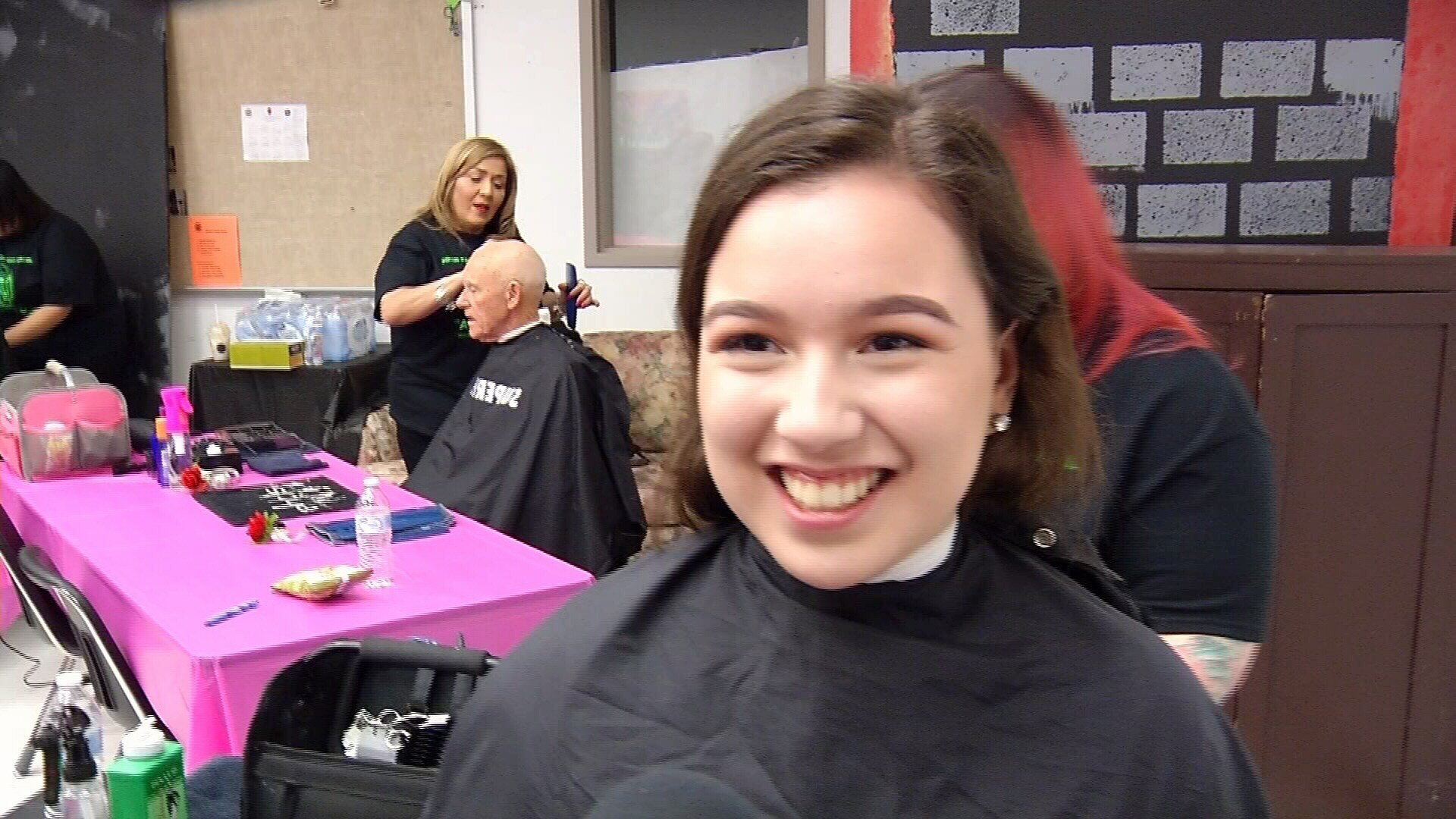 Student Faith Reyes donated 12 inches of hair.