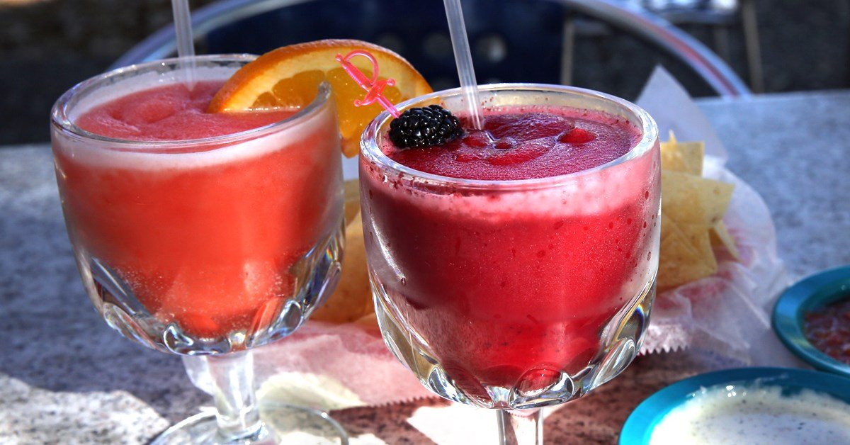 Chuy's Frozen Blackberry and Blood Orange margaritas