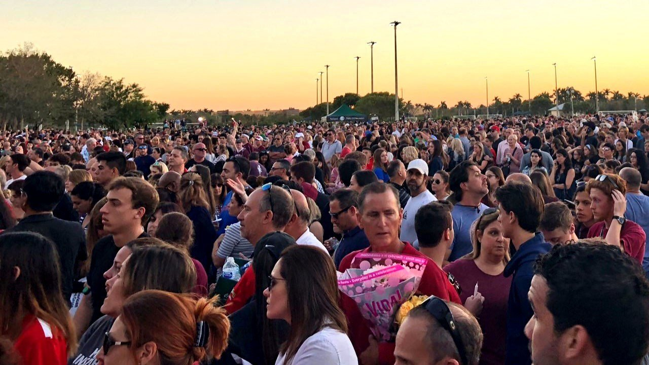 PHOTO: Community members come together for a vigil following deadly shooting at a Florida high school, Photo Date: 2/15/2018