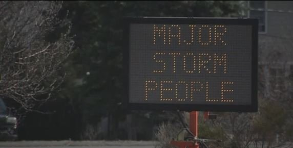 Actual sign warning residents of major storm in the Northeast.