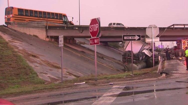 A TMISD school bus was involved in a crash with an 18-wheeler in San Antonio. Photo courtesy KSAT
