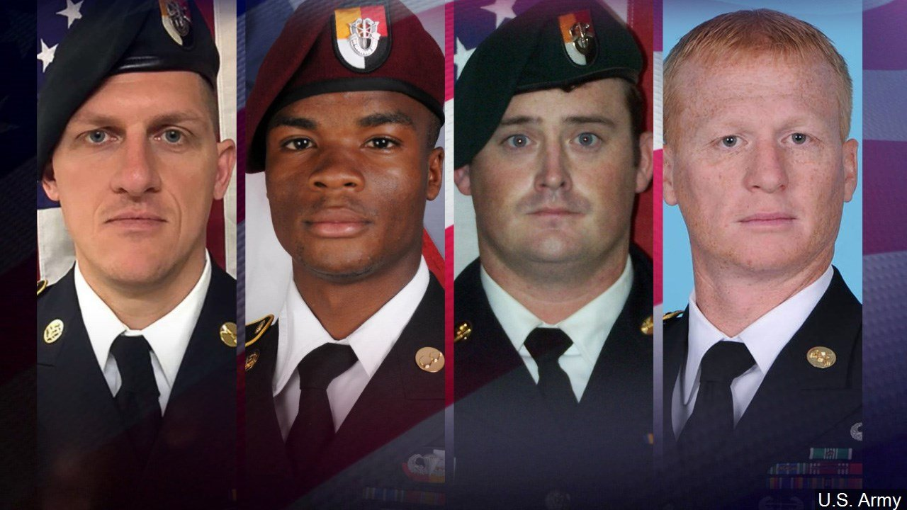 Four U.S. Soldiers were killed when they were attacked by as many as 100 IS linked militants.
