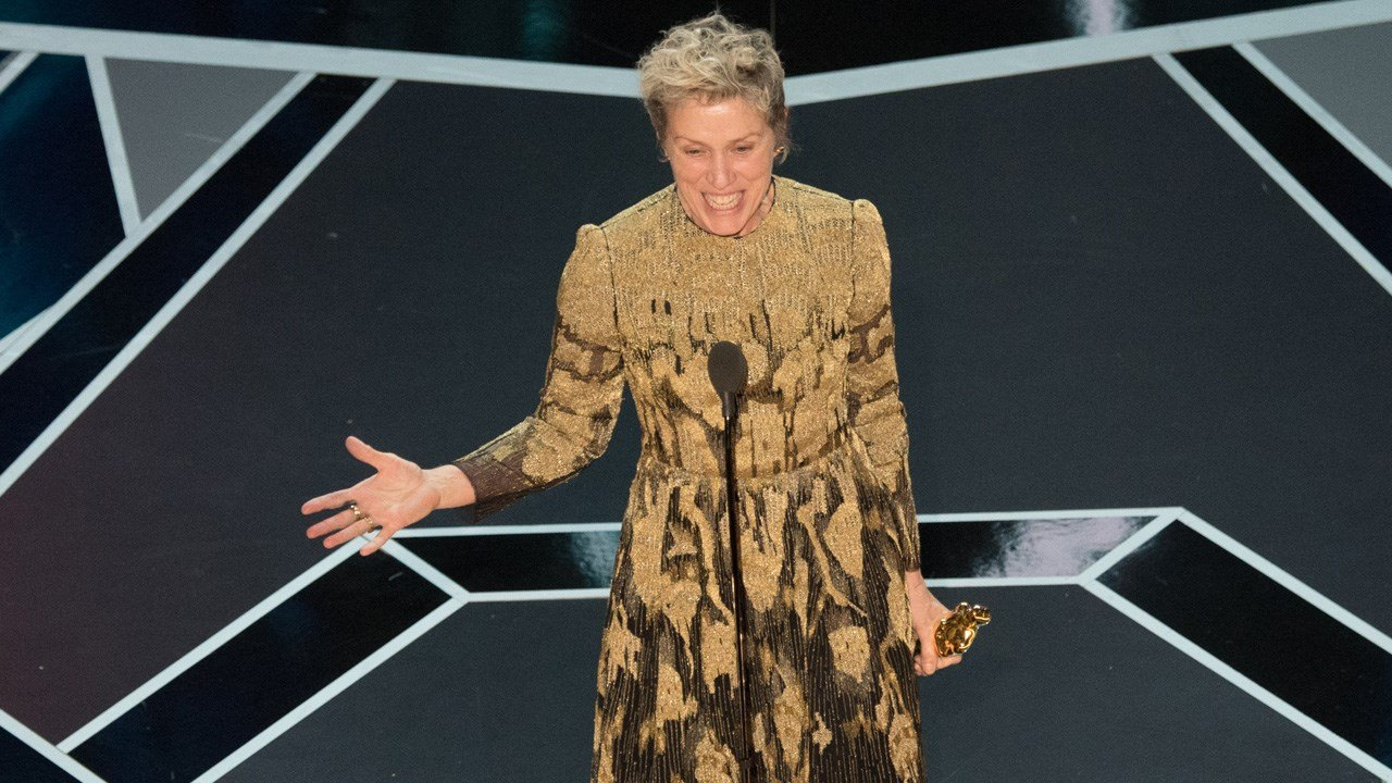 "Frances McDormand accepts the Oscar for performance by an actress in a leading role for work on ""Three Billboards Outside Ebbing, Missouri"" during the 90th Oscars"