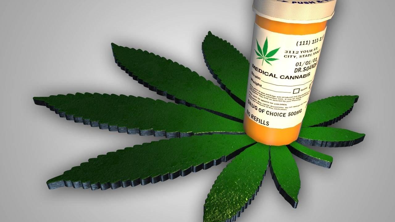 Medicine container and marijuana leaf