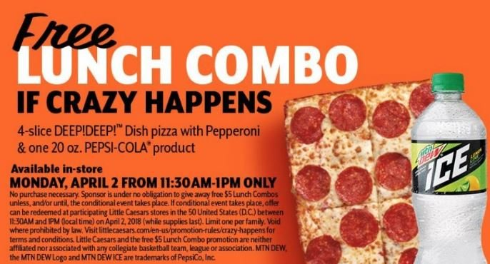 Lunch could be on Little Caesars because of tournament upset