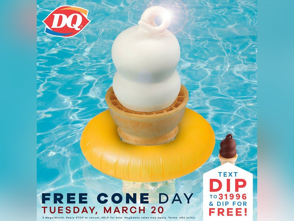 Tuesday is Free Ice Cream Cone day at Dairy Queen