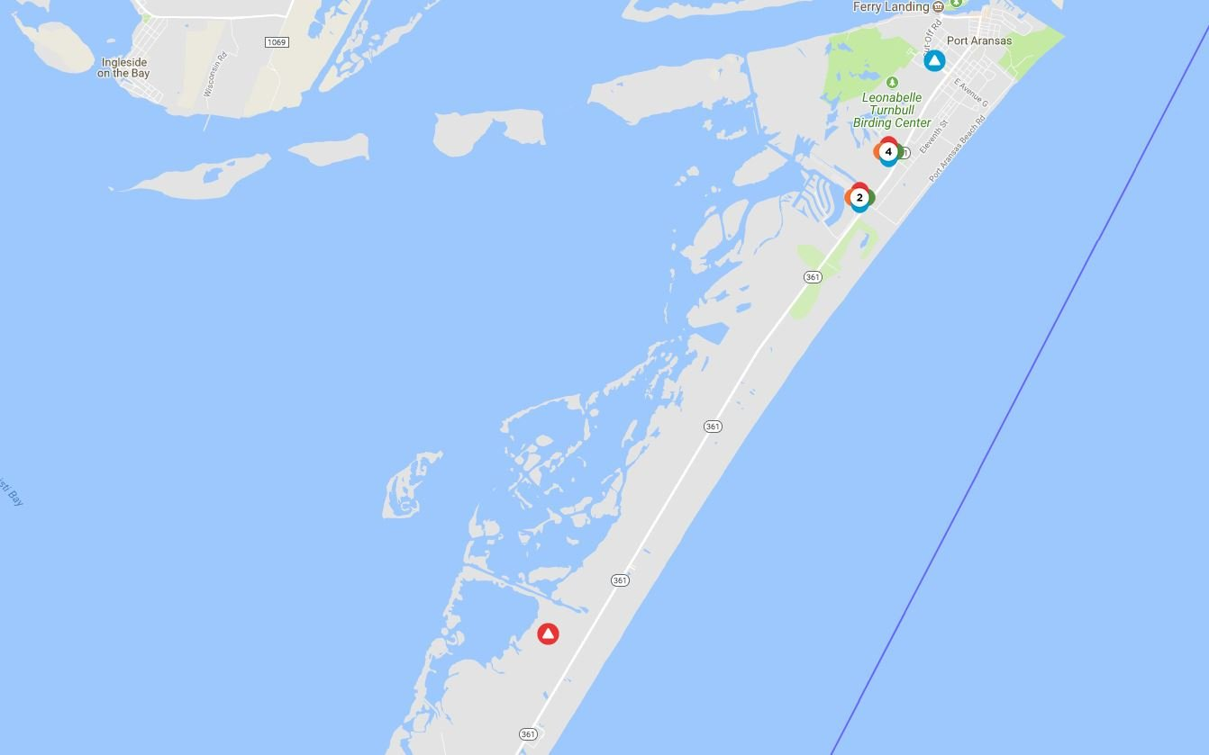 A power outage affected Port Aransas and Mustang Island on Saturday. Image: AEP