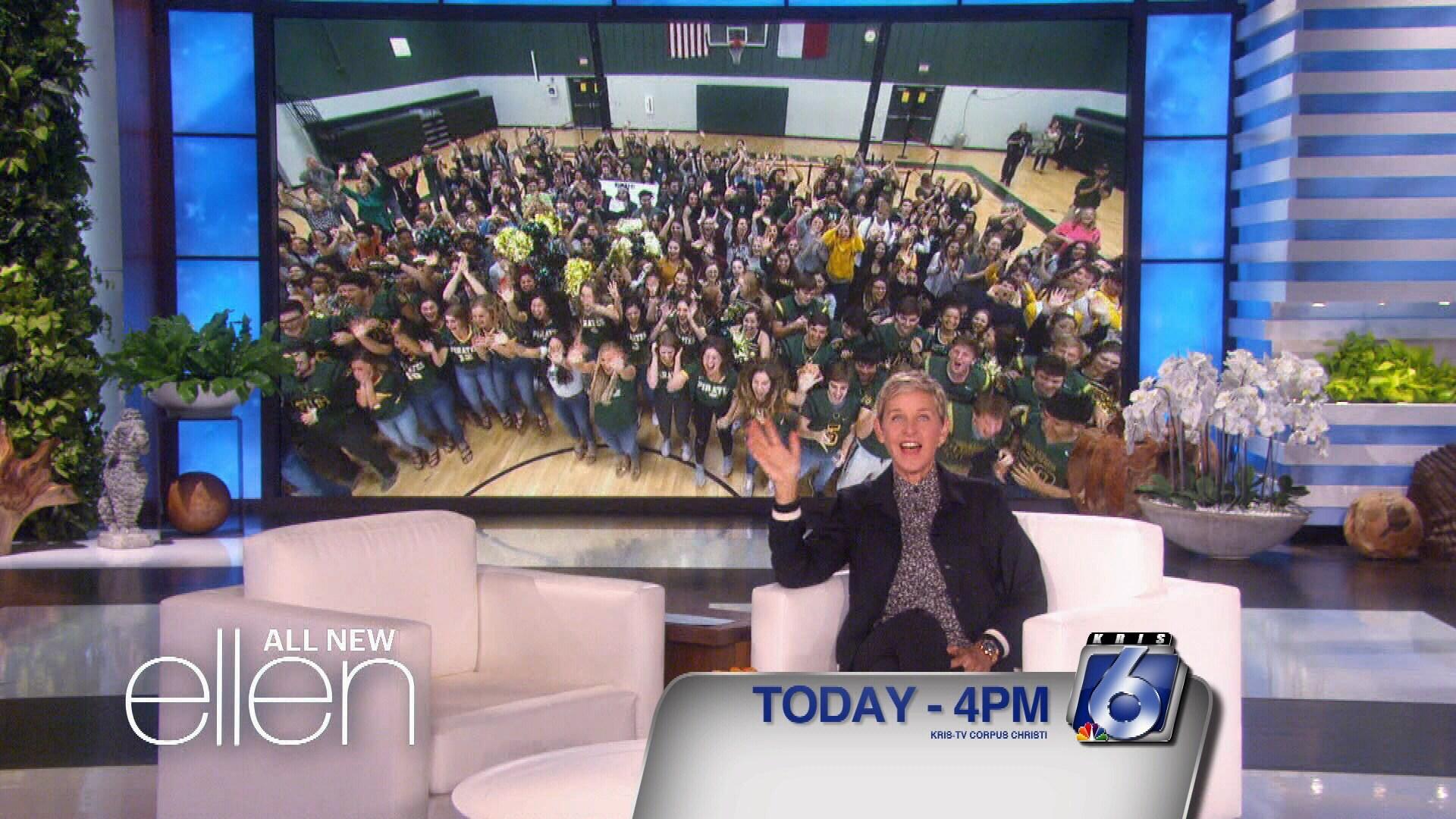 Ellen DeGeneres surprises Rockport-Fulton High School via live shot.