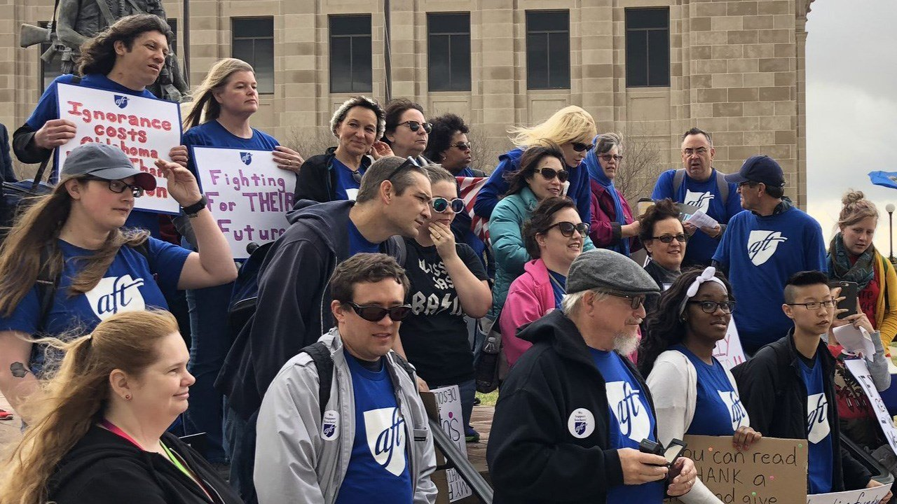 PHOTO: Members of the American Federation of Teachers at a rally in Oklahoma, Photo Date: 4/3/2018 (Photo: AFT / Twitter)