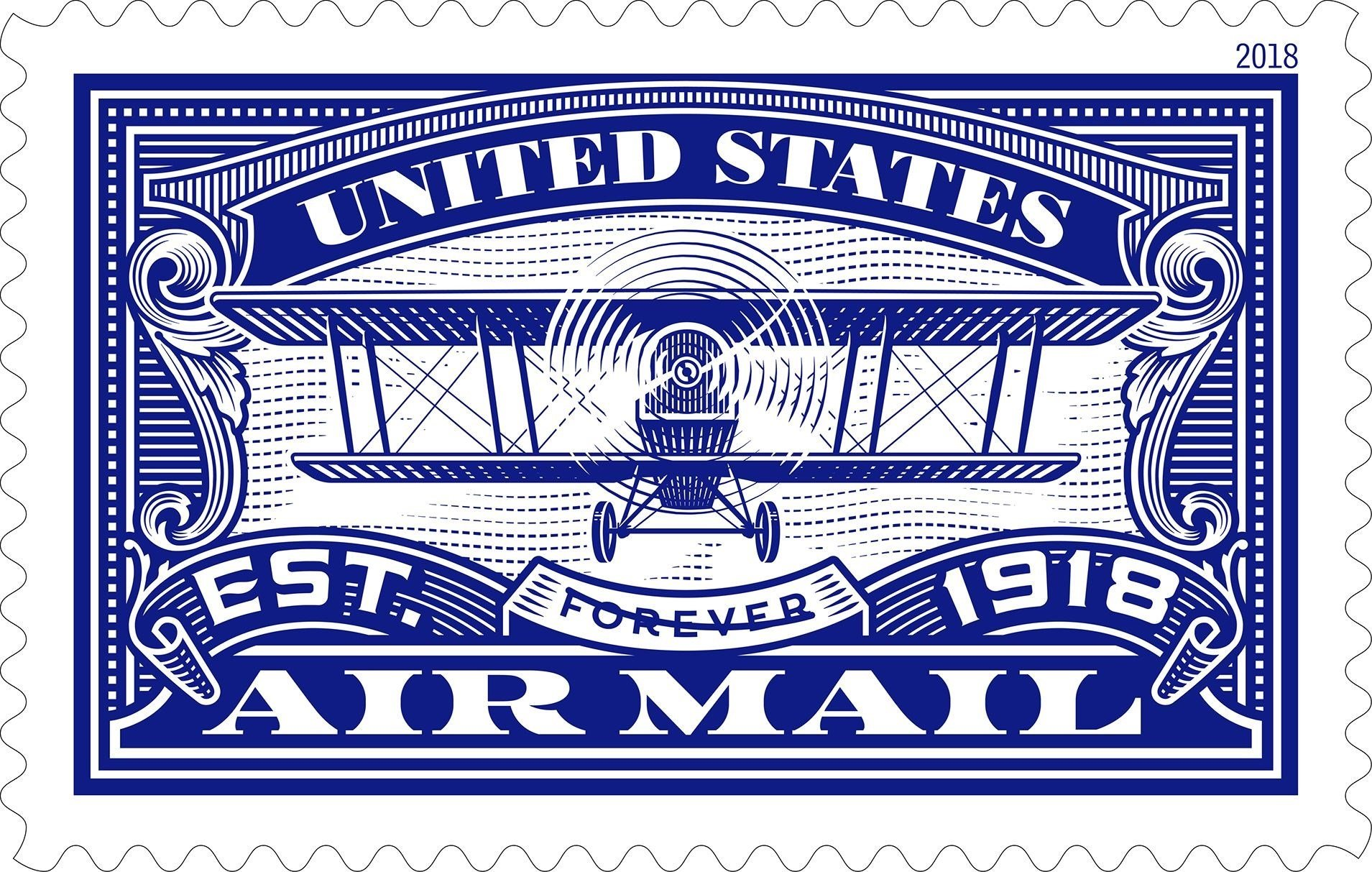 The new stamp honoring 100 years of U.S. Air Mail Service