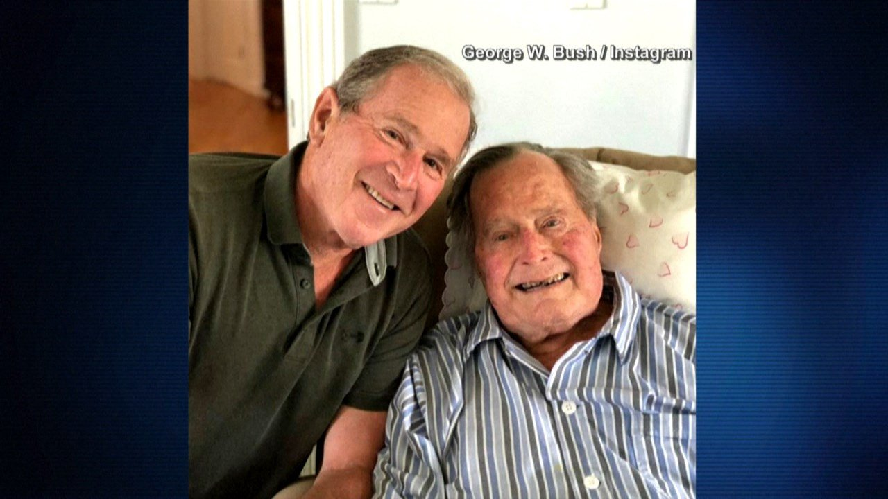 Photo:Former President George W. Bush posted a photo on Instagram today with his father, former President George H.W. Bush. It's the elder Bush's 94th birthday today. (GEORGE W BUSH/INSTAGRAM)