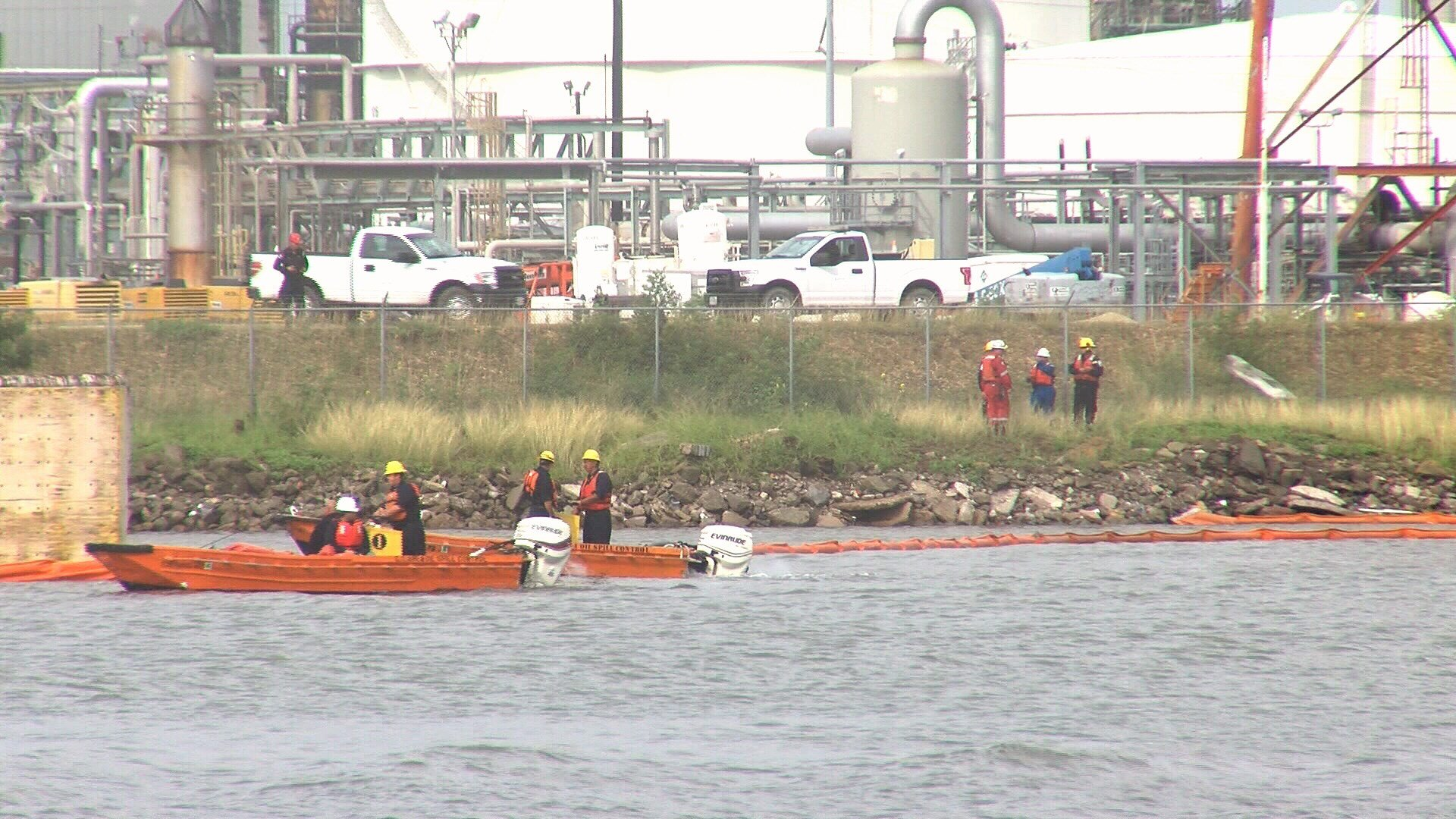 The Refinery Terminal Fire Company, Texas Commiission Environmental Quality and Texas General Land Office have contained an oil sheen in the Corpus Christi Ship Channel Thursday morning.