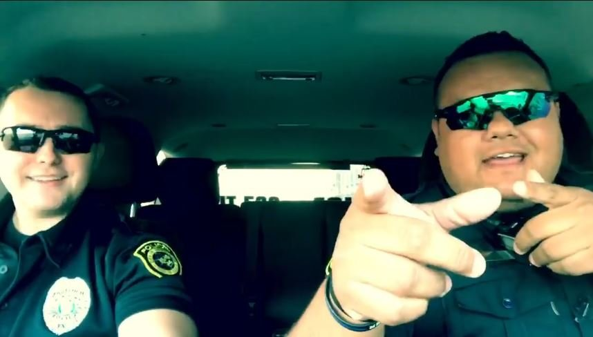 Two Robstown police department officers decided to enter into a San Antonio law enforcement lip-sync battle. (Courtesy: RPD FACEBOOK PAGE)