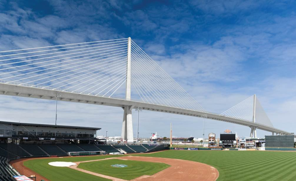 A conceptual image of the new harbor bridge as seen from Whataburger Field.