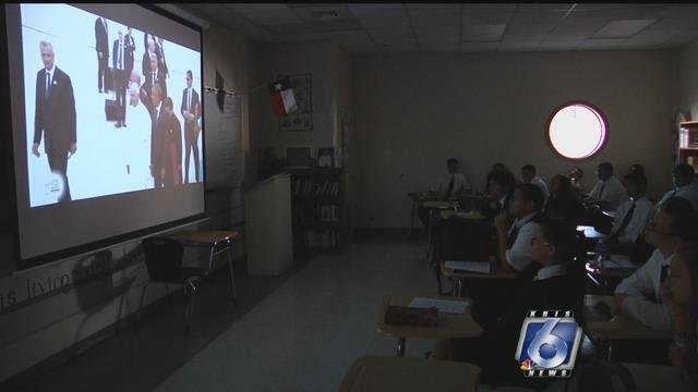 Students at John Paul II High School are watching the Pope as he makes his way through the U.S.