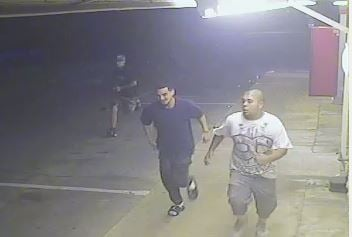 This surveillance photo shows the three suspects leaving the store. (KRIS)