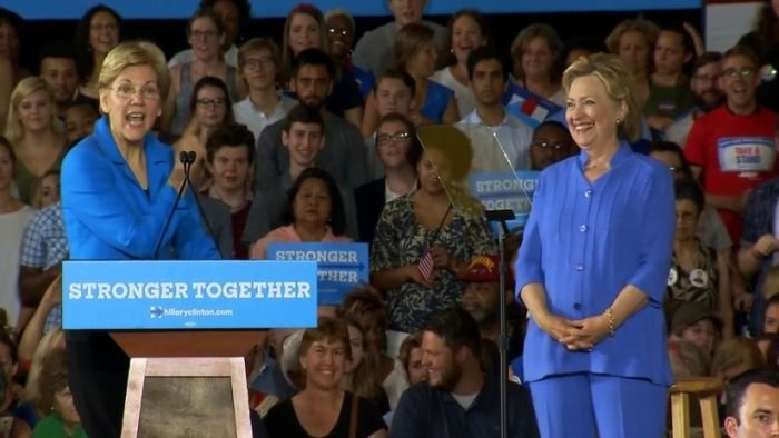 Elizabeth Warren on the campaign trail with Hillary Clinton ...